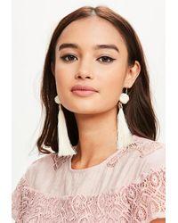 Missguided - Natural Cream Pom Pom Tassel Earrings - Lyst