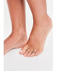 Missguided - Metallic Silver Toe Rings Set - Lyst