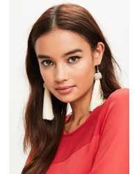 Missguided | Natural Cream Knot Tassel Earrings | Lyst