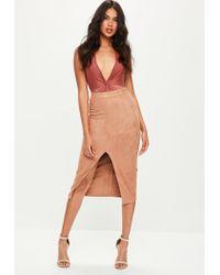 Missguided | Brown Plunge Slinky Bodysuit | Lyst