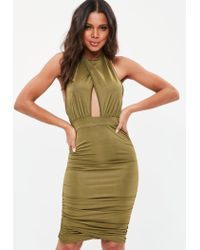 Missguided - Natural Khaki Cut Out Halterneck Bodycon Dress - Lyst