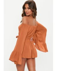 Missguided - Rust Brown Bardot Playsuit - Lyst