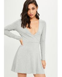 df207d616a Lyst - Missguided Grey Long Sleeve Jersey Wrap Skater Dress in Gray