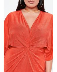 Missguided - Curve Orange Slinky Kimono Dress - Lyst