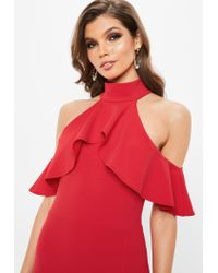 Missguided - Red Frill Maxi Dress - Lyst