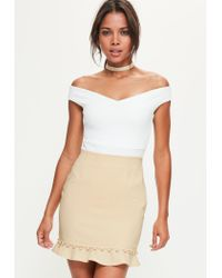 bf1e79ea1c Lyst - Missguided Nude Button Frill Hem Detail Mini Skirt in Natural