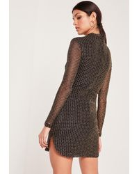 Missguided - High Neck Long Sleeve Bodycon Dress Black - Lyst