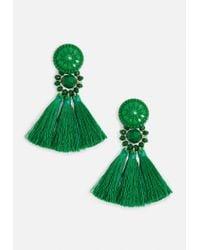 Missguided - Green Art Deco Tassel Earrings - Lyst