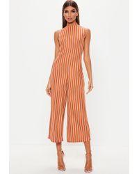 0fc1468a69f0 Lyst - Missguided Rust Stripe High Neck Culotte Jumpsuit in Orange