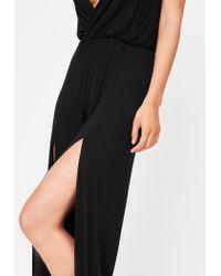 Missguided - Black Wrap Wide Leg Jumpsuit - Lyst