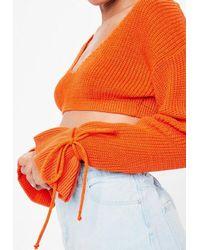 Missguided - Orange Plunge Flare Sleeve Cropped Jumper - Lyst