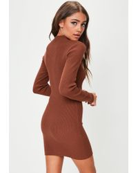 Missguided - Brown Zip Through Knitted Mini Dress - Lyst