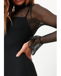 Missguided - Black Mesh Flared Sleeve Bodycon Dress - Lyst