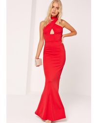 7718660e3a3 Lyst - Missguided Wrap Front Neck Fishtail Maxi Dress Red in Red