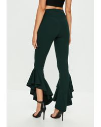 Missguided - Green Asymmetric Draped Frill Side Cigarette Trousers - Lyst
