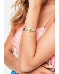 Missguided - Metallic Gold Baby Girl Braclet - Lyst