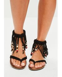 Missguided | Black Tassel Band Beaded Flat Sandals | Lyst