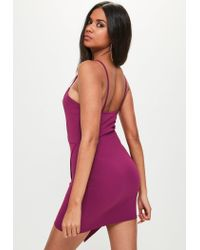 Missguided | Purple V Bar Strappy Wrap Over Bodycon Dress | Lyst