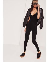 Missguided - Jersey Strappy Unitard Jumpsuit Black - Lyst