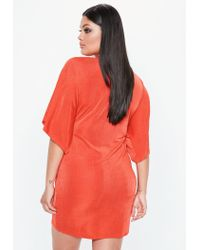 Missguided - Curve Orange Slinky Kimono Dress - Lyst