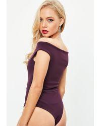 Missguided   Tall Purple Bardot Crepe Bodysuit   Lyst