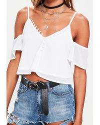 Missguided - White Button Through Bardot Cami Top - Lyst