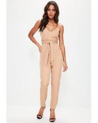 6d87940fc8c2 Lyst - Missguided Nude Paperbag Waist Strappy Jumpsuit in Natural