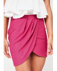 Missguided - Pink Textured Wrap Mini Skirt - Lyst