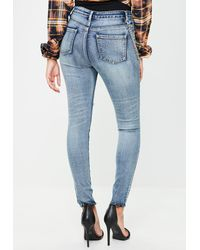 Missguided | Blue Sinner High Waisted Chain Skinny Jeans | Lyst