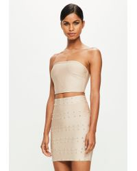 Missguided - Natural Peace + Love Beige Bandage Bandeau Top - Lyst
