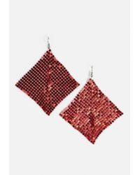 Missguided - Red Chainmail Earrings - Lyst