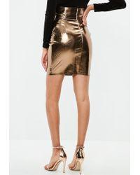 Missguided - Gold Super High Waist Metallic Skirt - Lyst