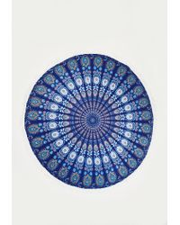 Missguided - Blue Rounded Printed Tassel Beach Towel - Lyst