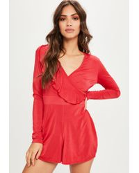 Missguided | Red Frill Slinky Romper | Lyst
