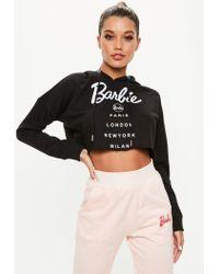 Missguided - Barbie X Black City Printed Cropped Hoodie - Lyst
