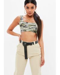 9527b155b30 Lyst - Missguided Khaki Camo Print Scoop Neck Bralet in Natural
