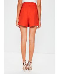 Missguided | Orange Chiffon Tie Front Skort | Lyst