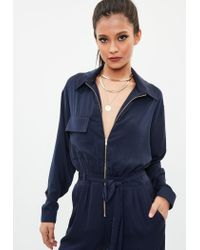 Missguided - Blue Navy Utility Satin Jumpsuit - Lyst