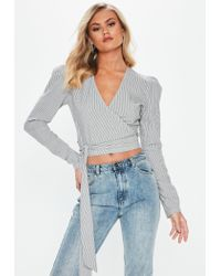 Missguided - Tall Black Long Sleeve Stripe Wrap Front Top - Lyst