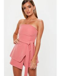 caff13a616 Missguided Pink Tie Waist Bandeau Skort Playsuit in Pink - Lyst