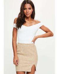 Missguided - Brown Tan Faux Suede Split Mini Skirt - Lyst