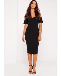 Missguided - Bardot Bodycon Midi Dress Black - Lyst
