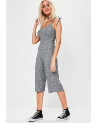 0256b86760c Lyst - Missguided Grey Tie Strap Ribbed Culotte Jumpsuit in Gray