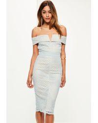 Missguided | Blue Lace V Bar Bardot Midi Dress | Lyst
