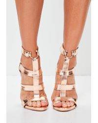 afe71520b5ef2e Lyst - Missguided Rose Gold Bullring Gladiator Strappy Heeled ...