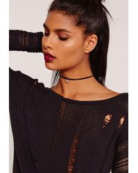 Missguided - Diamante Charm Choker Necklace Black - Lyst