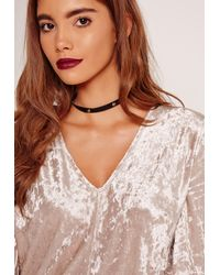 Missguided - Flat Stud Tie Back Choker Necklace Black - Lyst