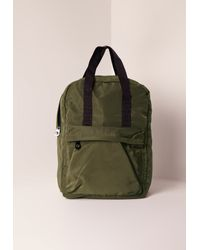 Missguided | Green Nylon Sleek Sport Rucksack Khaki for Men | Lyst