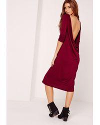 Lyst - Missguided Cowl Back Long Sleeve Midi Dress Burgundy in Red 3dddd04e5
