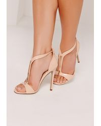 f0c1aaf87f44d9 Lyst - Missguided Gold Trim T-bar Heeled Sandals Nude in Natural